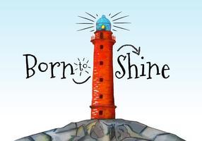 Aquarel Oranje Lighthouse met citaat En Blauwe Hemel