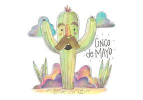 Kleurrijke Cactus Karakter voor Cinco De Mayo Vector
