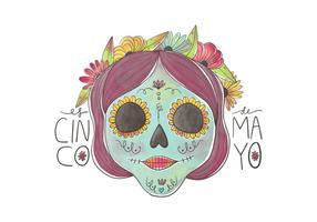 Zoete Schedel met kleurrijke bloemen voor Cinco De Mayo