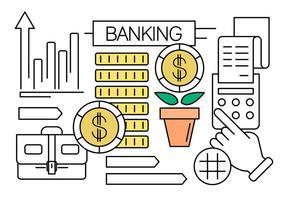 Vector Set van Financiën een Banking Pictogrammen voor gratis