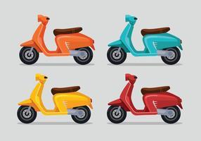 Set van veelkleurige Lambretta Scooter