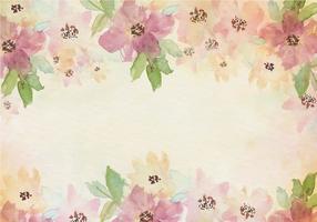 Gratis Vector Vintage aquarel achtergrond met geschilderde bloemen