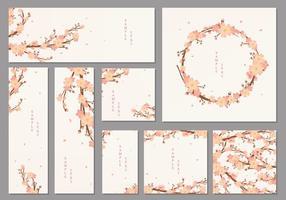 Peach Blossom Cards Vector