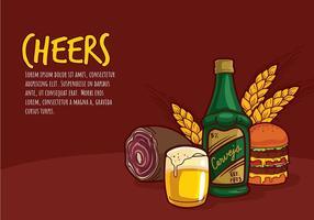 Cerveja en Bar Eten Cartoon Gratis Vector