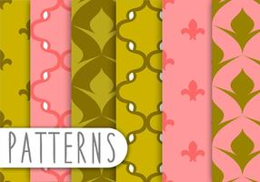Roze en Groene Decoratieve Patroon Set