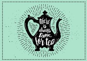 Gratis Vector Teakettle Silhouet Illustratie Met Typografie