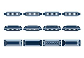 Harmonica Vector Icons Set