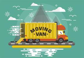 Flat Moving Van Vector Design