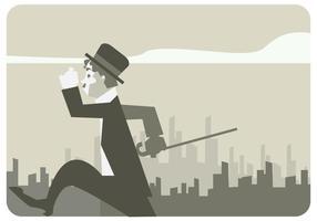 Charlie Chaplin Wandelen in de stad straat Vector
