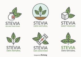 Stevia Blad Natuurlijke Zoetstof Vector Logo Set
