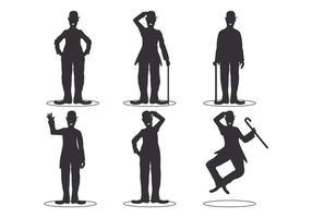 Charlie Chaplin Silhouette Set vector