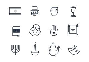 Judaism Outline Icons vector