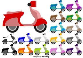 Scooter Flat Kleurrijke Pictogrammen - Vector
