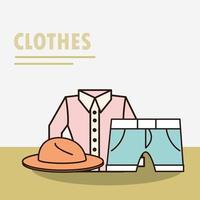 unisex kleding en accessoires eenvoudige samenstelling vector