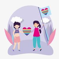 cartoon lgbtqi-tekens voor trotsviering vector