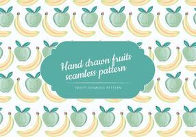 Vector Handgetekende Banaan En Appel Naadloos Patroon