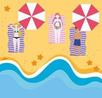 mensen op het strand die zomeractiviteiten doen vector