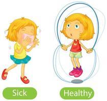 tegenovergestelde woorden met ziek en gezond
