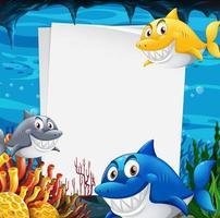 blanco papieren sjabloon met veel haaien stripfiguur in de onderwaterscène