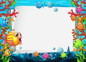 blanco papier sjabloon met kleurrijke exotische vissen stripfiguur in de onderwaterscène