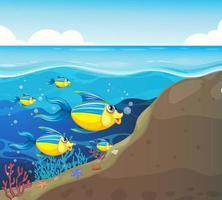 veel exotische vissen stripfiguur op de onderwaterachtergrond vector