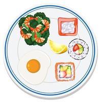 luchtfoto van eten op plaat