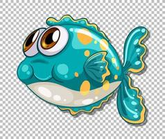 schattige vis met grote ogen stripfiguur op transparante achtergrond