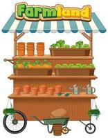 boerenlandwinkel verkoopt planten met landbouwgrondlogo op witte achtergrond