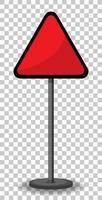lege rode verkeersbanner op transparante achtergrond