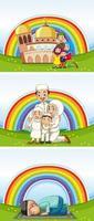 set van Arabische moslimgezinnen in traditionele kleding en regenboogachtergrond vector