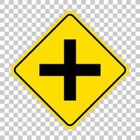 4-weg kruispunt teken geïsoleerd op transparante achtergrond