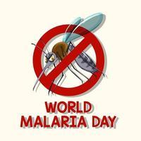 wereld malaria dag logo of banner met mug teken