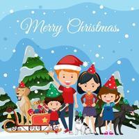 familie vieren kerst buiten vector