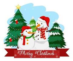 twee sneeuwpop met vrolijk kerstfeest lettertype