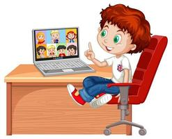 een jongen communiceert videoconferentie met vrienden op witte achtergrond vector