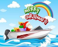 drijvende speedboot van de kerstman in de zeescène met merry christmas-lettertype