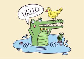 Leuke Groene Alligator En Gele Eend Met Spraakbel vector
