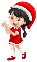 schattig meisje in kerst kostuum stripfiguur