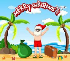 kerstman op het strand voor zomerse kerst vector