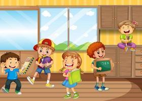 scène met veel kinderen in de kamer vector
