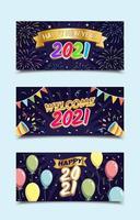 Gelukkig Nieuwjaar 2021 groeten banner sjablonen