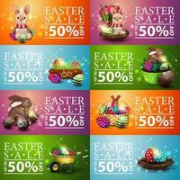 verzameling van kleurrijke horizontale kortingsbanners van Pasen vector