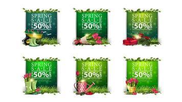 grote verzameling sjablonen voor lentekortingen vector