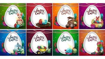 set van heldere kleurrijke ansichtkaarten met Pasen pictogrammen vector
