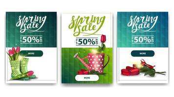 verzameling korting banners met lente pictogrammen vector