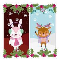 kerst schattige banner set met karakters vector