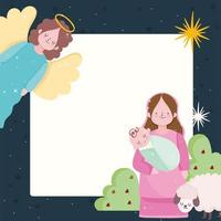 geboorte, kribbe mary met baby jezus en engel vector