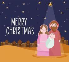 vrolijk kerstfeest en kerststal banner met heilige familie vector