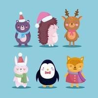 vrolijk kerstfeest schattig tekenset vector