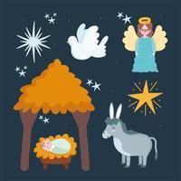 schattige kerststal cartoon set vector
